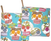 Mexican Art Pot Holders Set of 2 Kitchen Home Decor Day of the Dead Sugar Skull