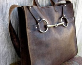 Equestrian Horse Bit Tote Bag in Rugged Distressed Brown Leather by Stacy Leigh
