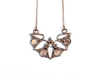 Rosette necklace in 14k rose gold (art nouveau, floral granulation)