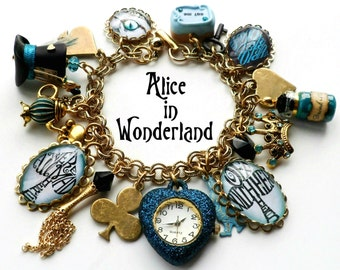 Alice in Wonderland Teal and Turquoise Gold Brass Charm Watch Bracelet