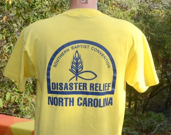 vintage 80s t-shirt DISASTER southern baptist christian church north carolina tee shirt Large Medium yellow