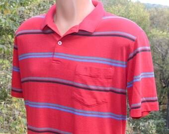 vintage 80s golf shirt polo PENGUIN red stripe grand slam munsingwear Medium Large silky soft thin