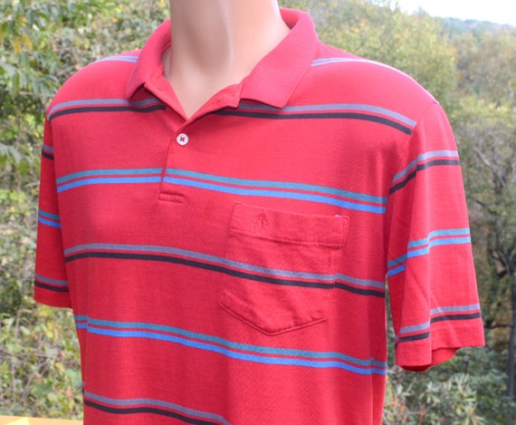 Vintage 80s golf shirt polo penguin red stripe grand slam for Golf shirt with penguin logo