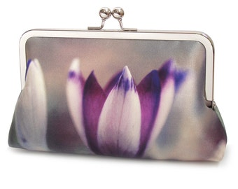 Crocus petals clutch bag, silk purse, bloom, mauve, purple, wedding purse, flower clutch, bridesmaid gift
