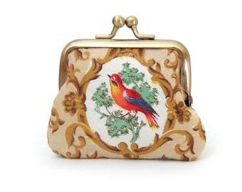 Bird coin purse, mini pocket pouch, vintage bird, mint suede leather purse