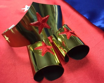 Child size Classic Wonder Woman Tiara Headband and Cuff Bracers Accessory Set in Gold Kids Girls Costume