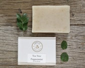 Tea Tree Peppermint Soap | Herbal Soap, All Natural Soap, Essential Oil Soap, Cold Process Soap, Wake Up Soap, Anti-Fungal Antiseptic
