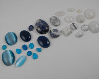 Jewelry Supply Destash! Destash blue and white Cabochon Lot 25+ Pc # 2156