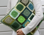 Crochet Retro Granny Square Cushion Cover