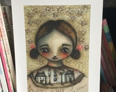 Home sweet home wall art print mixed media art colorful young girl on a gold background