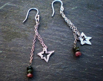 Sterling Silver Star and Tourmaline Earrings