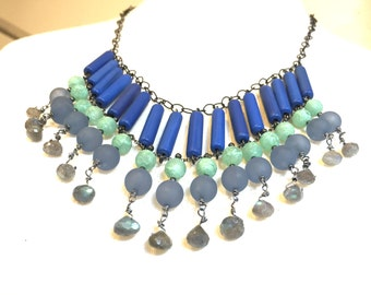 Blue and Green Statement Necklace | Egyptian Collar Style Labradorite and vintage Lucite Neck Piece | Leetie Lovendale