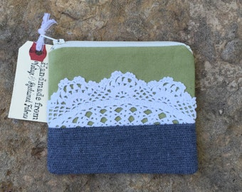 olive delight , green and grey change purse with vintage doily
