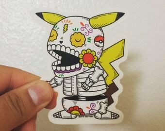 Pikachu Calavera Clear Die-cut Vinyl Sticker Day of the Dead