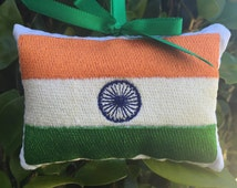 Indian Flag Ornament  - Gift Topper Pillow - Door Knob Hanger - India - Asia