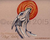 Original Toned Paper Dragon Artwork Fantasy Artwork by Nina Bolen OOAK