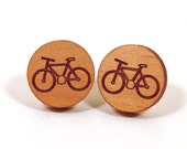 Bicycle Wooden Post Stud Earrings Bike Earrings