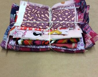 Bundle of Scrappy Fabric Happiness -PURPLE- SB40- Fabric Scraps / Vintage Scraps / Destash / Fabric Destash / Linen Scraps / Vintage Destash