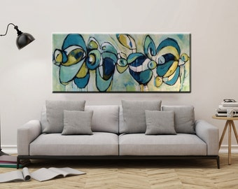 Huge abstract painting extra large Artwork painting contemporary modern abstract painting yellow orange blue