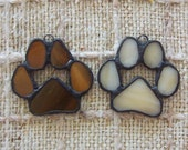 Set of 2 stained glass paw prints