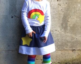 Girls Rainbow Brite Inspired Bodysuit or Shirt, Skirt, Leg Warmers set for Baby, Toddler, Children, Kids - Gift - Costume or Birthday Party