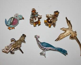 Vintage Bird Pins. 6 Pack