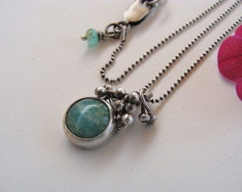 Amazonite Button Cabochon Oxidized Artisan Organic Necklace