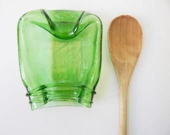 Slumped Green Mason Jar, Spoon Rest, Soap Dish, Candle Holder, Vintage Style- Melted Mason Jar- Vintage kitchen decor- Mason Jar