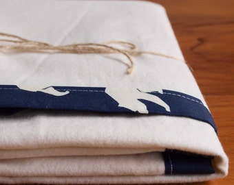 Organic Baby Blanket, Navy Blue and Ivory Bear Receiving Blanket; Handmade Organic Baby Blanket Gift for Boys in BEAR HIKE DUSK (Last One)