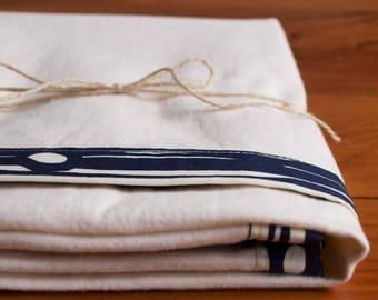 Modern Woodland Baby Blanket; Blue Receiving Blanket for Boys; Baby Shower Gift; Organic Baby Gift; Soft Swaddle Blanket, in FAUX BOIS DUSK