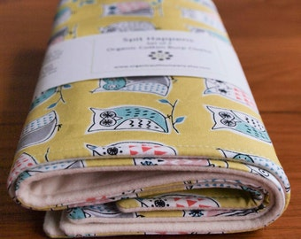 Organic Burp Cloths, Set of Two in HOOTENANNY; Owl, Owls, Citron, Aqua, Coral and Grey Baby Burp Cloths Gift Set by Organic Quilt Company