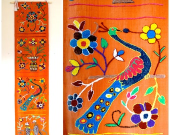 Vintage 60s 70s Crewel Embroidered Table Runner or Wall Hanging