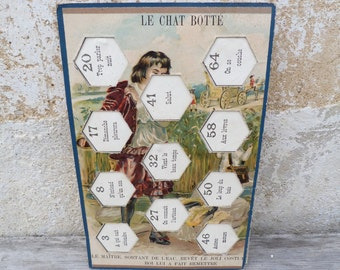 Antique  1890/1900 French part of a game cardboard Fairy tale  Le chat botté