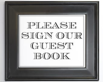 Uptown Guest Book Sign Printable DIY Digital File PDF Wedding Reception Sign 4x6 5x7 and 8x10 Simple Masculine