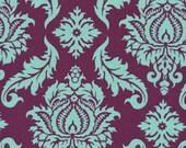 HALF YARD- Joel Dewberry Fabric - Aviary 2, Damask in Plum, Purple - SALE