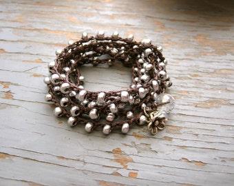 Silver crocheted wrap bracelet or necklace, bohemian, crocheted jewelry, boho, casual, evening wear, day wear