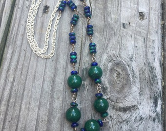 Azurinre Malachite and Fossil Stone Necklace and Earrings Matching Set, Blue and Green
