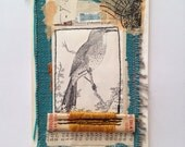 Original Collage - bird and yellow thread