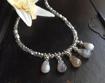 crystal necklace, yoga jewelry, boho jewelry, agate necklace, silver necklace