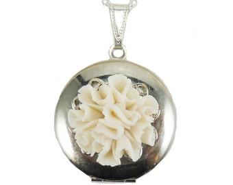 Carnation Locket Necklace -  Carnation Jewelry, January Birthday Birth Flower