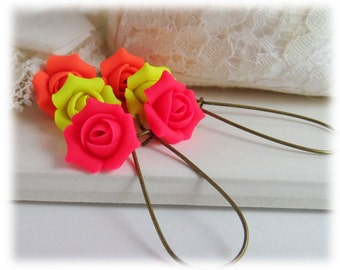 Neon Rosebud Dangle Earrings - Neon Flower Drop Earrings