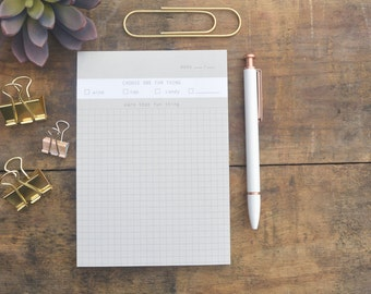 Listmaking Notepad - Grid Paper - Graph Paper - To-Do List - Choose One Fun Thing - NTP-432