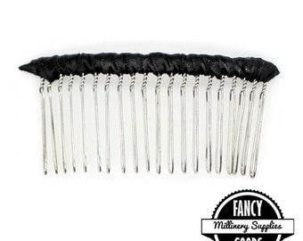 1 - Large - Black Satin - Ribbon Wrapped - Silver Wire - Hair Comb - Hat Comb - Veil Comb - 2.75  Inches Wide - 20 Teeth