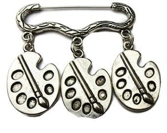 Artist palette charm silver tone brooch/pin