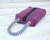 Wristlet Cosmetic Bag Pencil Case in Pink and Gray Stripe