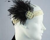 Onyx And Cream Ostrich Feather Flapper Headband