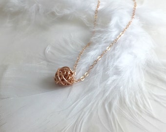 Dainty Necklace Rose Gold Necklace Bridal Shower Bridesmaid Gift Birthday Gift Layered Necklace Delicate Necklace Knot Necklace