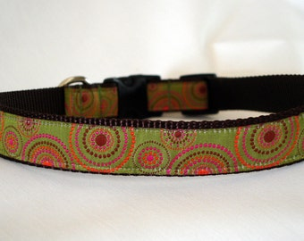 Olive Dots - Large Dog Collar - 1 Inch Wide - Adjustable Between 17-24 Inches - Chocolate Lab - Golden Retriever - Polka Dot - READY TO SHIP