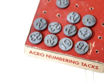 Vintage Metal Number Tacks, Vintage Number Nails, Antique Window Tacks