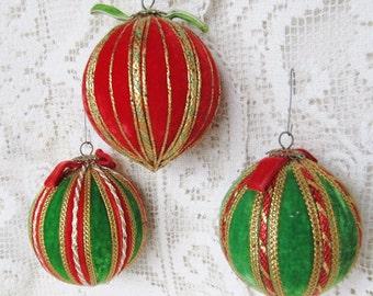 Vintage Lot Of 3 Handmade Red And Green Velvet Art Craft Christmas Ornaments, Ships Worldwide